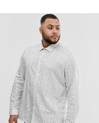 ASOS DESIGN Plus Stretch Slim Ditsy Print Work Shirt