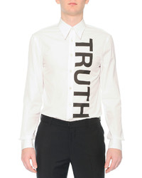 Alexander McQueen Truth Printed Woven Sport Shirt White