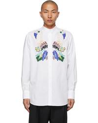 Valentino White Embroidered Band Collar Shirt