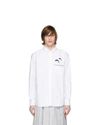 Thom Browne White Oxford Jumping Dolphins Straight Fit Shirt