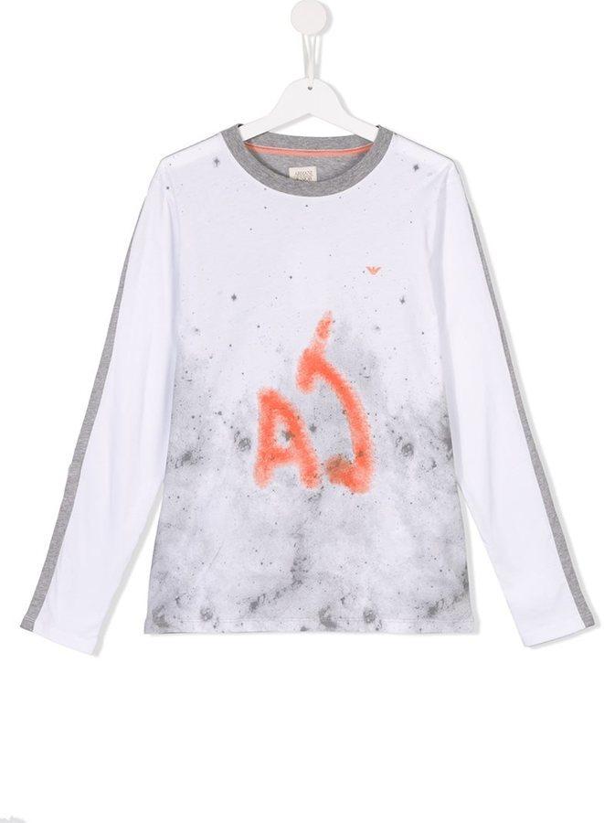 Armani Junior Spray Paint Print T Shirt