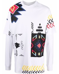 Marcelo Burlon County of Milan Geometric Print Double Sleeve T Shirt