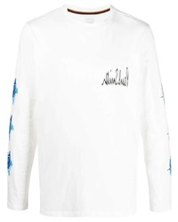 Paul Smith Logo Print Top With Rose Print Sleeves