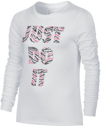 Nike Long Sleeve Print Cotton Crew Tee Girls 7 16