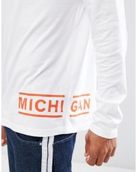 Asos Long Sleeve T Shirt With Michigan Hem Print