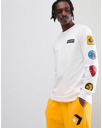 Converse Patched Long Sleeve T Shirt In White 10007212 A04