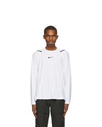 Nike White And Black Pro Long Sleeve T Shirt