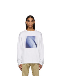 Fumito Ganryu White And Blue Graphic Long Sleeve T Shirt