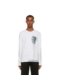 Alexander McQueen White And Silver Skull Print Long Sleeve T Shirt