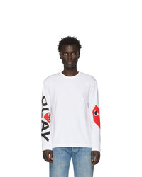 Comme Des Garcons Play White Big Heart Long Sleeve T Shirt