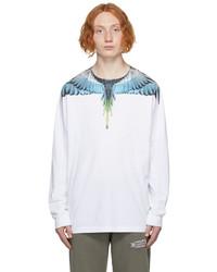 Marcelo Burlon County of Milan White Blue Wings Long Sleeve T Shirt