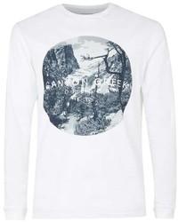 Topman White Canyon Creek Print Long Sleeve T Shirt