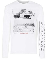 Topman White Huntington Beach Print Long Sleeve T Shirt