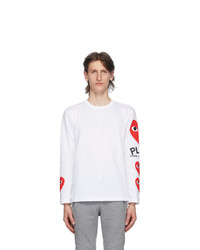 Comme Des Garcons Play White Multi Heart Long Sleeve T Shirt