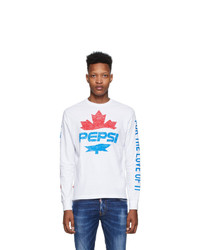 DSQUARED2 White Pepsi Edition Surf Fit Long Sleeve T Shirt