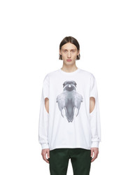 Burberry White Print Long Sleeve T Shirt