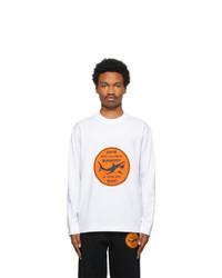 Burberry White Shark Graphic Long Sleeve T Shirt