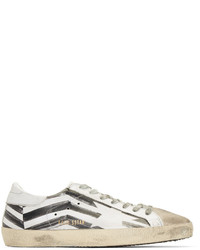 White Print Low Top Sneakers