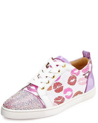 Christian Louboutin Gondolastrass Lip Print Low Top Sneaker Whitepink