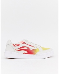 Vans Highland Flame Trainers In White Vn0a38fduml1