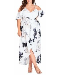City Chic Floral Print Ruffle Maxi Dress