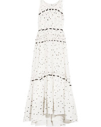 Snowbird gathered printed silk chiffon maxi dress white medium 5172896