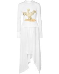 Loewe Asymmetric Printed Ribbed Cotton Blend Dress