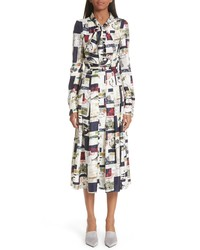 Oscar de la Renta Postcard Print Tie Neck Silk Dress