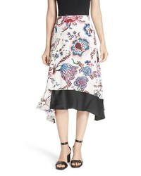 Tory Burch Floral Silk Midi Skirt