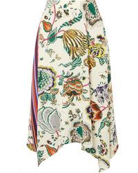 Tory Burch Marie Printed Silk De Chine Midi Skirt