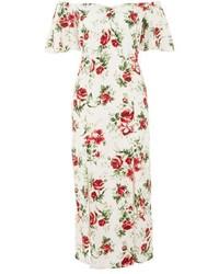 White Print Off Shoulder Dress