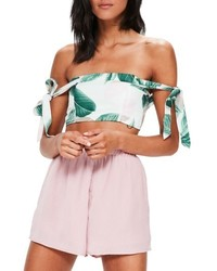 Missguided Tropical Print Off The Shoulder Top
