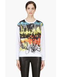 White oil pastel scribble print sweatshirt medium 13788