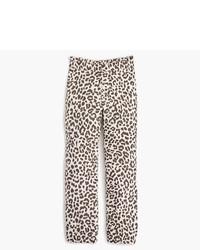J.Crew Ruffle Waist Linen Pant In Leopard Print