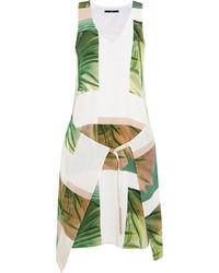 Tibi Fiore Di Cactus Printed Silk Mini Dress