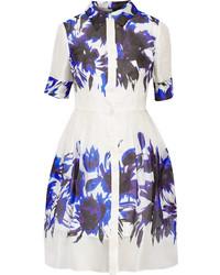 Milly Printed Silk Organza Shirt Dress