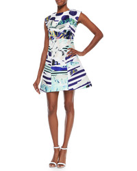 Kenzo Torn Paper Printed Satin Dress