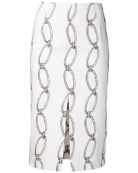 White Print Pencil Skirt