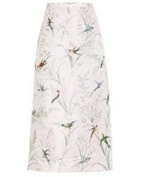 Rochas Hummingbird Print Silk Faille Pencil Skirt