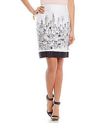 Tahari By Asl City Print Pencil Skirt