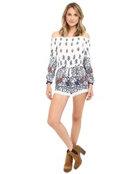 Brigitte Bailey Fatima Off The Shoulder Romper With Crochet Trim