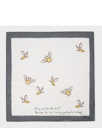 Paul Smith White Bees Print Pocket Square
