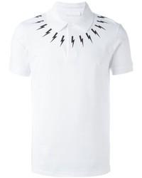 Neil Barrett Lightning Bolt Print Polo Shirt