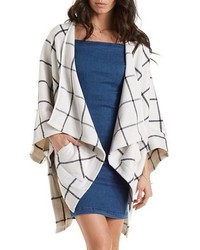 Charlotte Russe Double Zero Plaid Heavyweight Fleece Poncho
