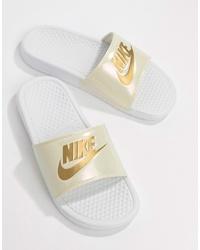Nike Benassi Jdi Logo Sliders In White And Gold