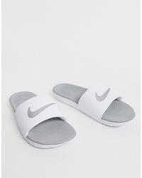 Nike White Kawa Swoosh Slider