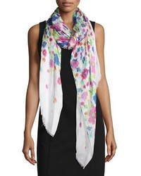 Chine gardens printed scarf white medium 3663671