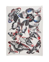 Alexander McQueen Giant Kaleidoscope Wings Plaid Scarf