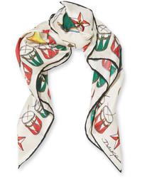 Dolce & Gabbana Printed Silk Twill Scarf Ivory
