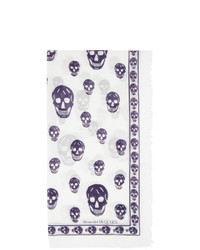 Alexander McQueen White And Blue Skull Scarf